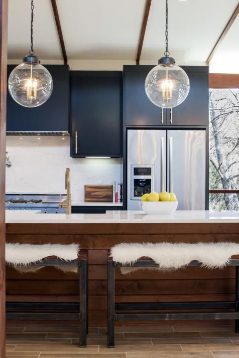 Mid century modern cabinets and modern kitchens on pinterest for Mid century modern kitchen lighting