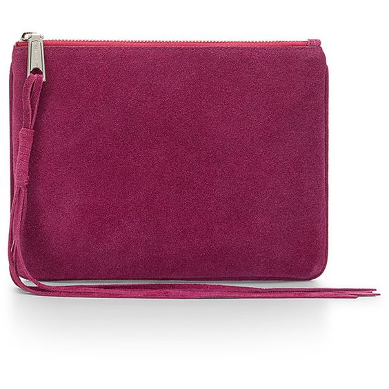 Rebecca Minkoff Suede Kerry Pouch (230 BRL) ❤ liked on Polyvore featuring bags, handbags, clutches, rebecca minkoff purse, rebecca minkoff, purple purse, suede purse and rebecca minkoff pouch