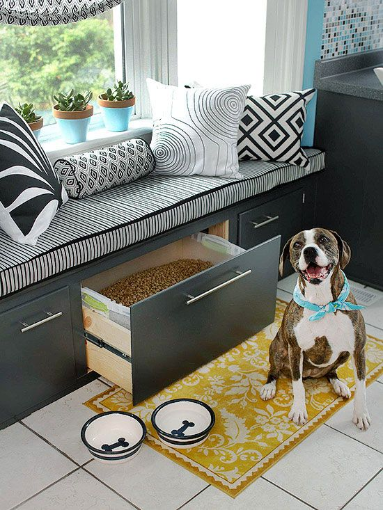 Window seat with storage (dry dog food stored in one of drawers!)