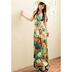 $11.47 Women's Stunning Milk Silk Maxi Dress With Halter Tropical Flowers Prints High Waist Design