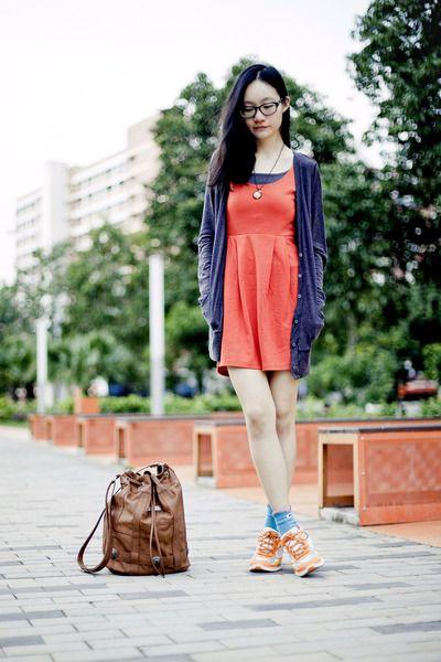 orange neon sports Skechers sneakers - carrot orange sleeveless Forever 21 dress