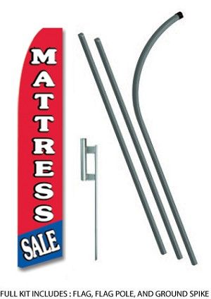 15 FEET TALL MATTRESS STORE FRONT ADVERTISING BANNER FLAG. INCLUDES HARDWARE.