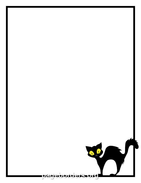 Printable black cat border Use the border in Microsoft Word or – Border Templates Word