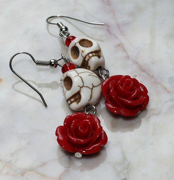 Jour de la mort Dia de los Muertos Frida Kahlo Señorita Rose Turquoise Sugar Skull Dangle hypoallergénique boucles d'oreilles rouge