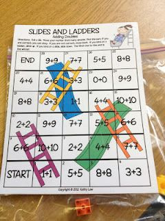 Chutes and Ladders with doubles addition facts...change to multiplication: