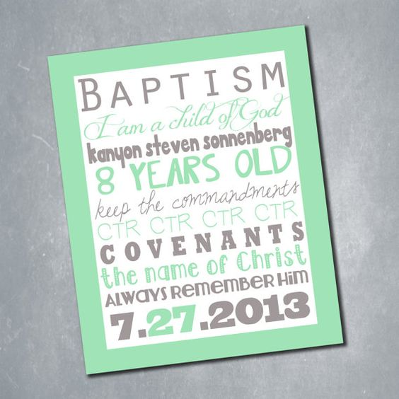 $6 Custom LDS Baptism Subway Art Sign. Baptism Decor Print. Customized Digital File. Size 11x14. || Etsy Shop: MeghansView