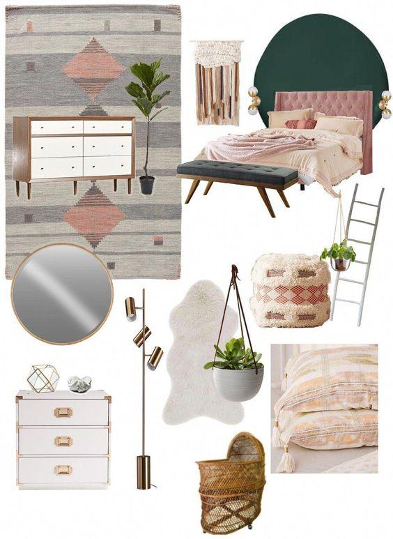 My Modern Boho Bedroom Moodboard and where to find this beautiful stuff! #bohobedroomideasmodern