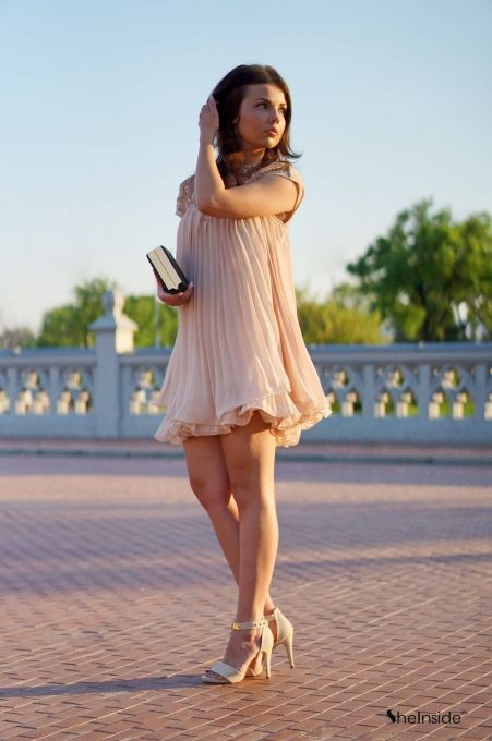 Apricot Short Sleeve Lace Pleated Chiffon Dress - Sheinside.com ...