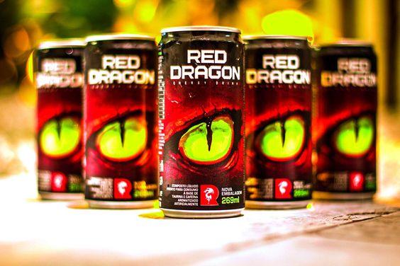 Redesenho de marca, identidade visual e embalagem para o energético Red Dragon.