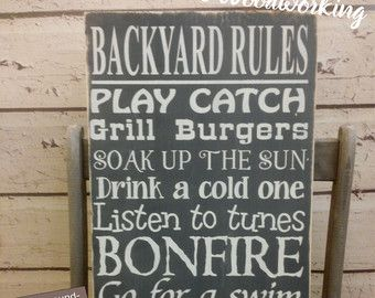 Porch Rules sign CUSTOM Front Porch rules Back Porch by Wildoaks: