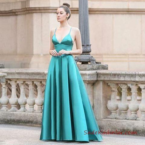 2020 Saten Elbise Modelleri Yesil Uzun Ip Askili Klos Etekli Elbise Modelleri The Dress Elbise