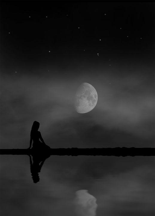 Luna, Mujer, Sentada, Orilla, Reflejo, Noche, Nubes
