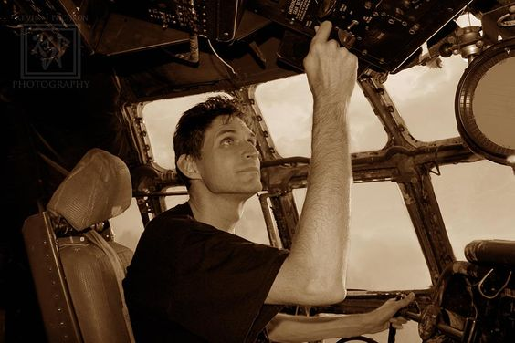 (Sepia photo) of Me flying the old C-97 Dodgeville, Wisconsin. The  By: Kevin P. (KJP Photography)