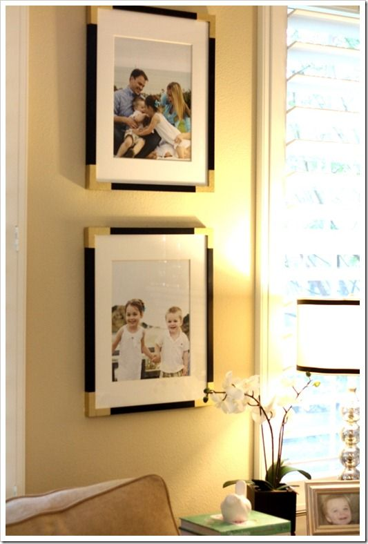 Brilliant!  Spray painted painter's tape for DIY brass corners - must try!