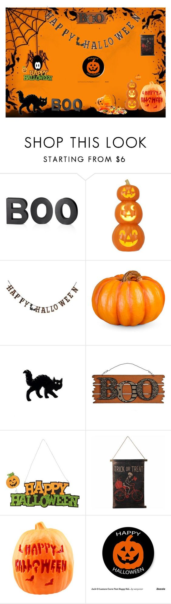 """""""happy halloween for those who celebrate if you dont happy thanksgiving"""" by teresamontora on Polyvore featuring Crate and Barrel, Creative Co-op, Improvements, WALL and Tag"""