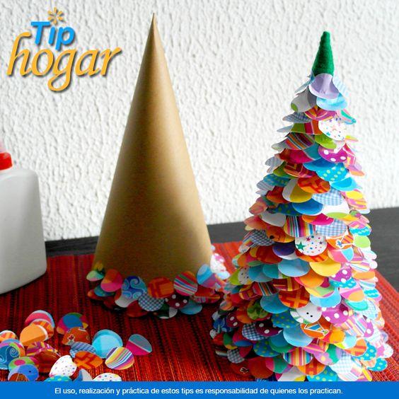 Crea peque os rboles de navidad con c rculos de papel de - Arboles de navidad colores ...