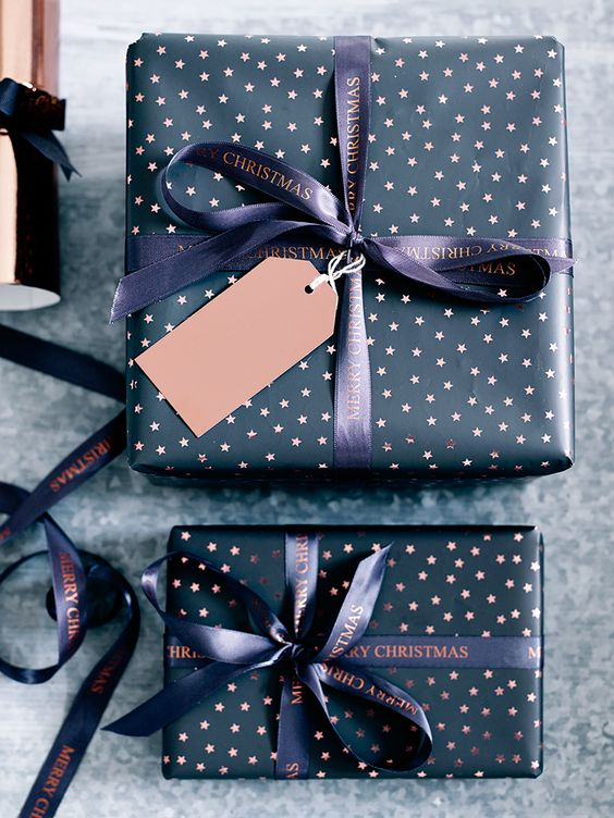 Printed on a bumper ten metre roll with a sophisticated shine finish, our high quality and strong wrapping paper has a warm charcoal background scattered in miniature foiled copper stars. Designed to complement our Copper Merry Christmas Ribbon and make an elegantly wrapped gift.
