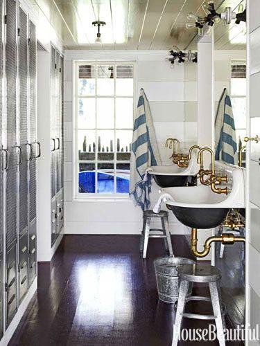 Beach house guest bathroom. Design: Erin Martin and Kim Dempster. housebeautiful.com. #bath #guest_bathroom #nautical #lockers
