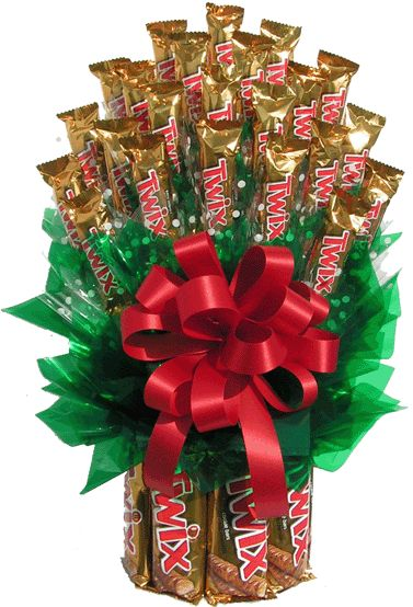 Large Twix Bouquet consist of:-- 8 large Twix and 23 fun size bars.: