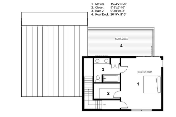 Modern Style House Plan - 3 Beds 2 Baths 2115 Sq/Ft Plan #497-31 Floor Plan - Upper Floor Plan - Houseplans.com