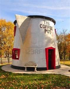 The Coffee Pot in Bedford, Pennsylvania - The dilapidated 1925 coffee pot themed cafe was restored in 2003 and has a new home at the fairgrounds.
