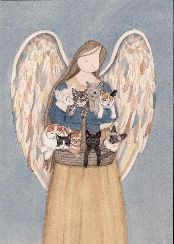 Standing angel holds cats (persian, siamese, tuxedo, black, white) / Lynch print #folkart:
