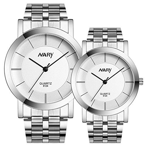 WatchZYooh Men And Women Watch Single Quartz Stainless Steel Wrist Watches 1 pair White -- Find out more about the great product at the image link.