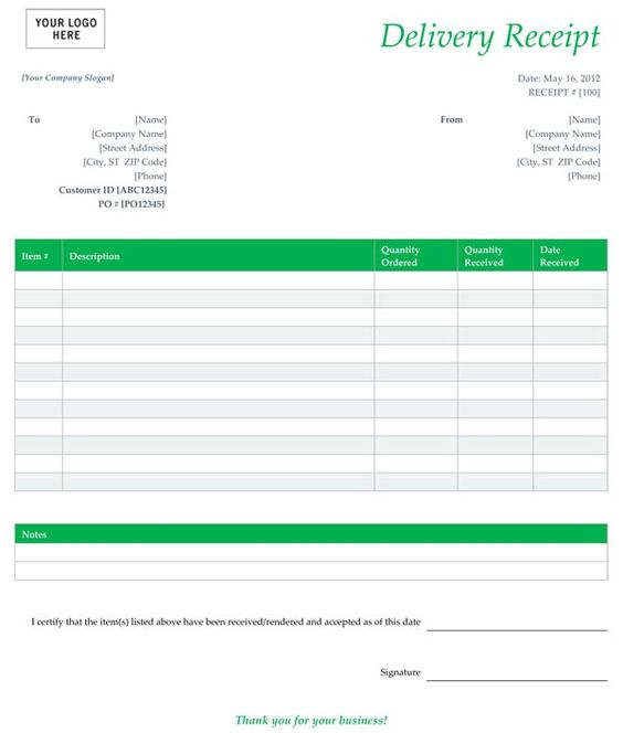 Delivery Receipt Form Template Free Places to Visit Pinterest - delivery note template word