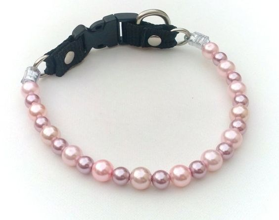 Pink and Lilac Pearl Dog CollarCat collar Buckle by BeadieBabiez