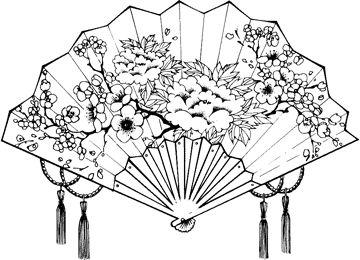Japanese Fan Art Drawings Woodburning Ideas Pinterest