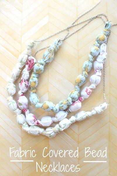 fabric covered bead necklaces 2