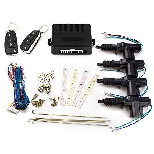 Eunavi Universal Car Auto Remote 4 Door Bracket Keyless Entry System Car Power Door Lock Rotation Central Locking Alarm Security Kit Keyless Entry Systems Door Brackets Keyless