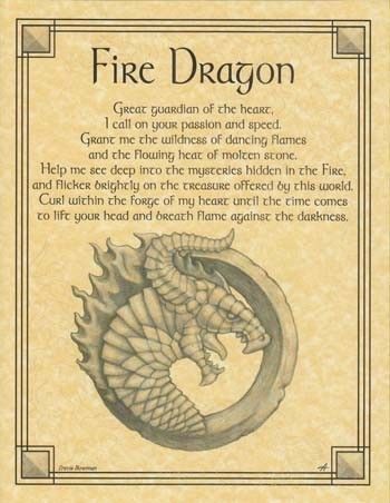 Fire Dragon Parchment Book of Shadows Page or Poster!: