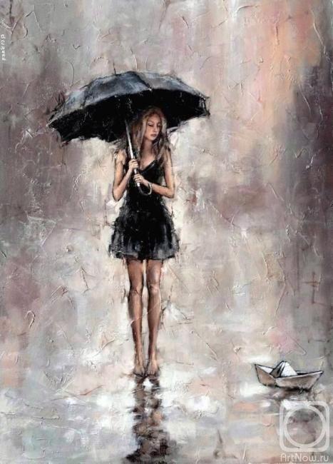 Девушка с зонтиком. Кораблик
