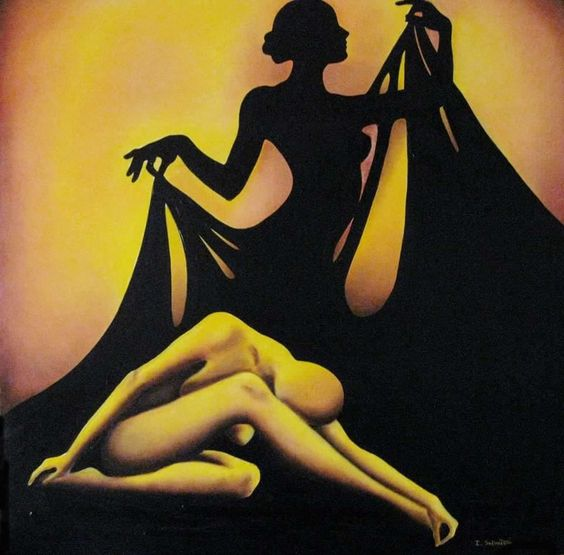 Silhouette of woman & yellow figure art