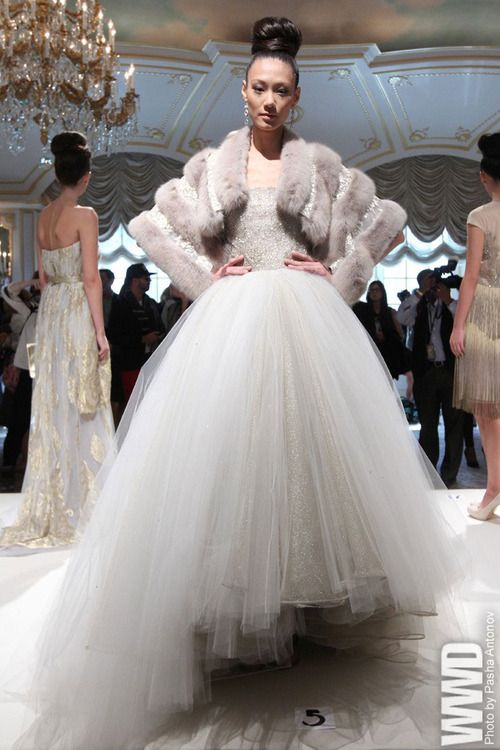 Dennis Basso RTW, Spring 2013 (Runway) knew there would be fur some place on this gown