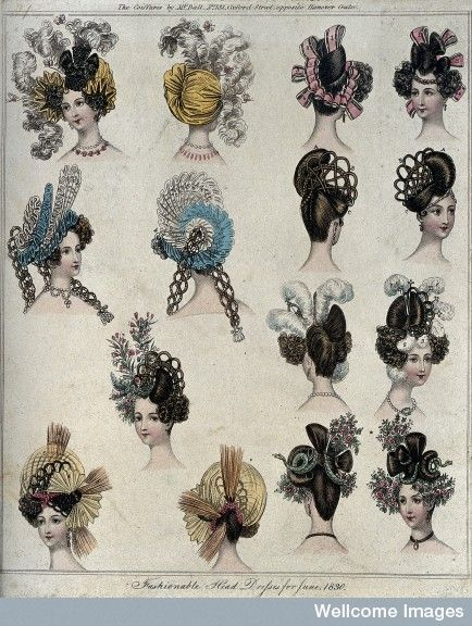 """Fashionable Head Dresses for June 1830:"" possibly from ""La Belle Assemblee."""