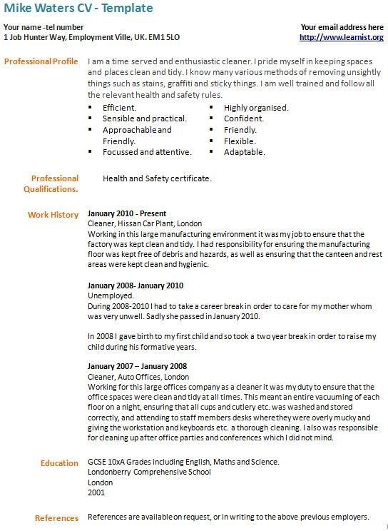 Career Break Cv Example Template Learnist In 2021 Cv Template Best Cv Template Good Resume Examples