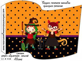 Halloween Menina - Kit Completo com molduras para convites, rótulos para guloseimas, lembrancinhas e imagens!