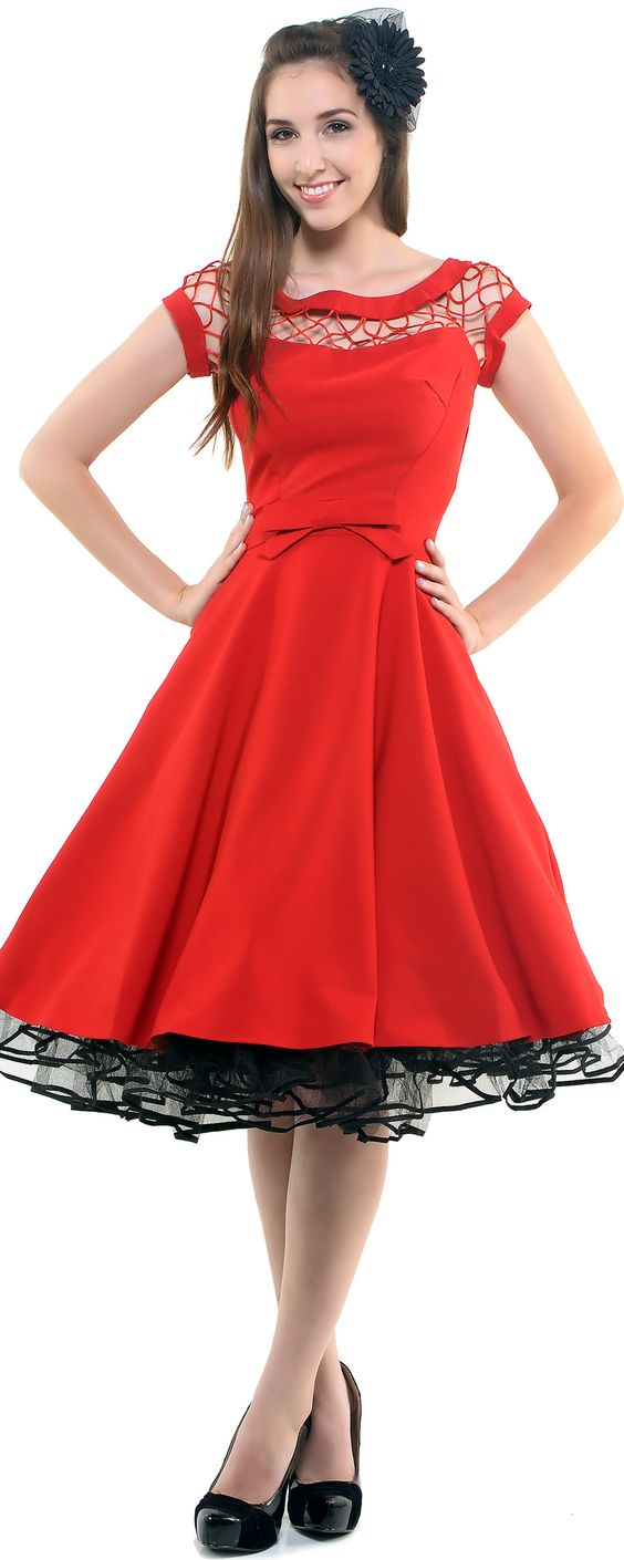 Red Alika Circle Skirt Swing Dress - Unique Vintage - Prom dresses ...