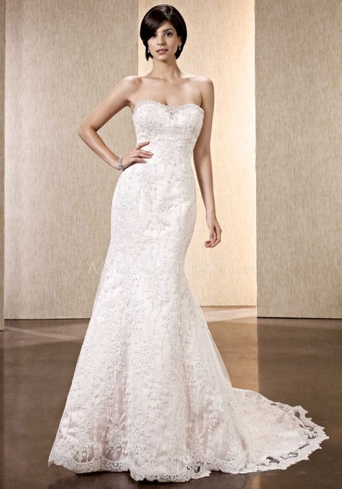 Retro Fit N Flare Sweetheart Lace Floor Length Wedding Dress With Beading