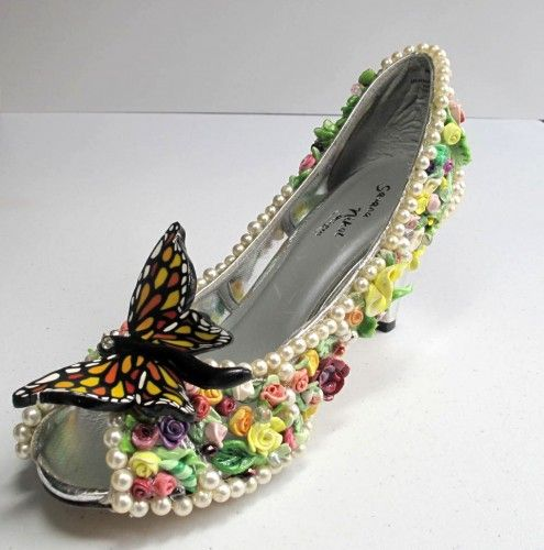 Polymer Clay Flowers  Pearls Shoe Butterfly landing MetalArtistry - I don't know how I could possibly describe these shoes. If they were in my closet I'd be too scared to ever wear them, lest I scuff them or trip.