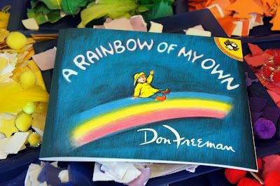 Wonderful crafts, a snack, sensory play, and outdoor activities inspired by the book A Rainbow of My Own by Don Freeman.  @ Mommy and Me Book Club