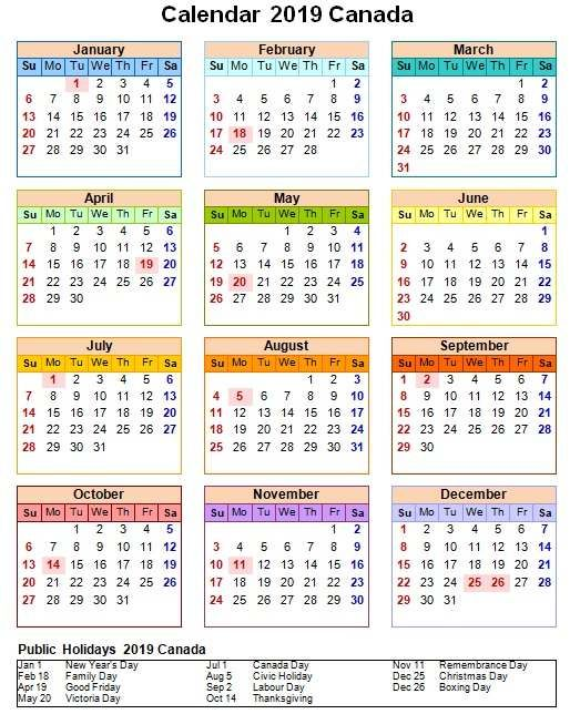 Canada 2019 Calendar With Holiday One Page 2019 Calendar Calendar 2019 With Holidays Calendar