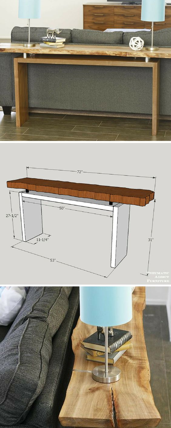 Learn how to build this live-edge floating-top console table! Customize the top with any material of your choice. FREE PLANS at buildsomething.com