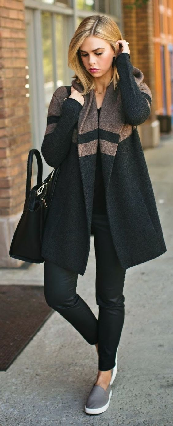 Black with Brown Hooded Oversize Sweater Coat Fashion for Fall and ...