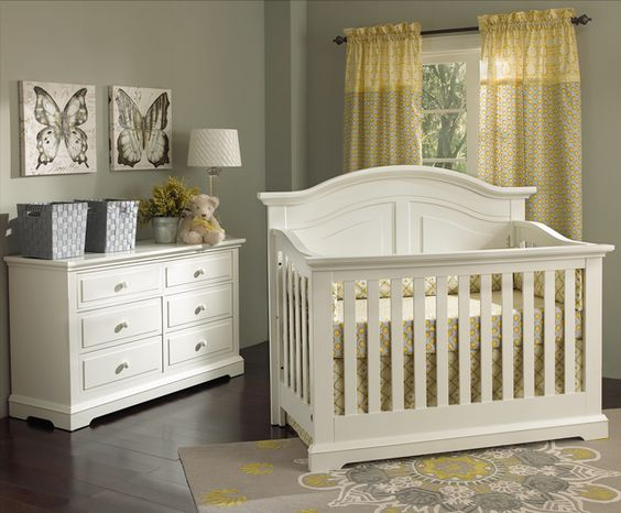 If you're doing #grayandyellow in the nursery, we love how it pairs with white furniture! {This is the fab Chatham Collection by @Munire Furniture)