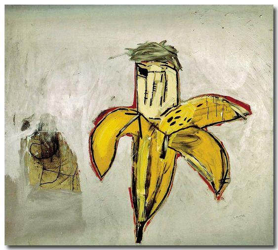 Jean-Michel Basquiat « Portrait of Andy Warhol as a banana, 1984. Catalogue de l'exposition Basquiat au musée d'art moderne de Lugano, 2005. Source ; bibliothèque Vert et Plume, 2005