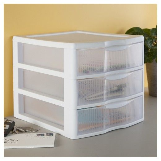 Sterilite 3 Drawer Medium Countertop Unit White With Clear Drawers