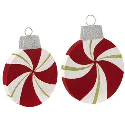 Raz large flat peppermint christmas decoration set of 2 for Flat outdoor christmas decorations